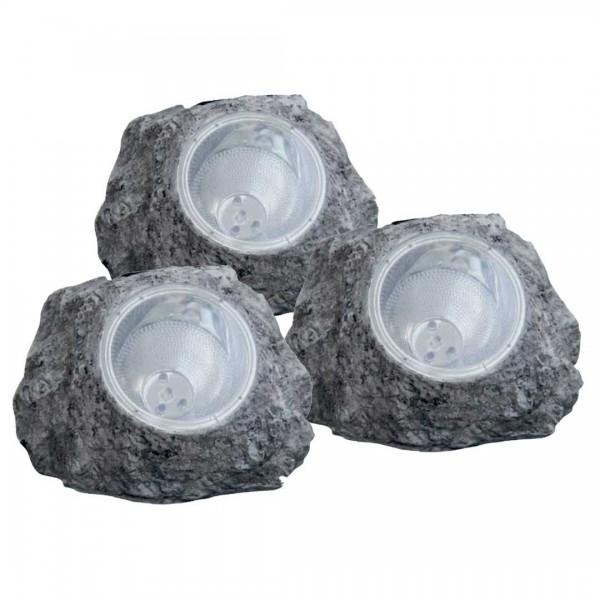 LED Solar - Steinoptik 3er Set 0,06W
