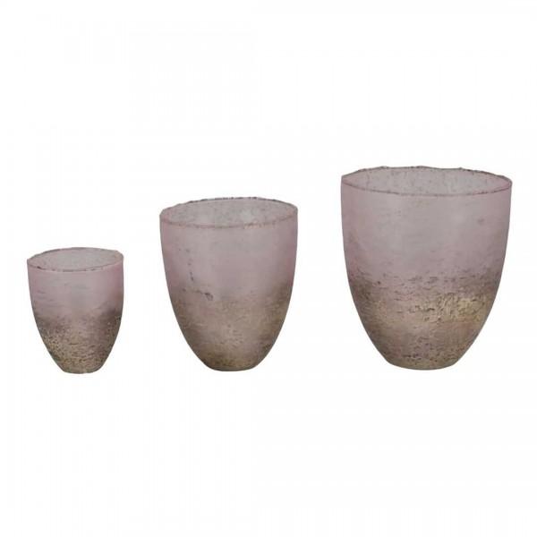 Windlicht Vitreous, 13x13x15cm, pink Glas