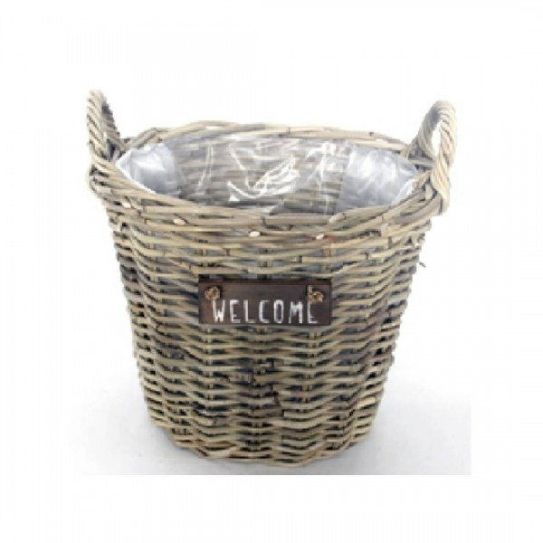 Pflanzkorb Rattan Welcome 30cm Höhe 25cm